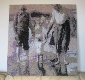 With Daddy on the Beach 1950s 75 x 77 cm £300
