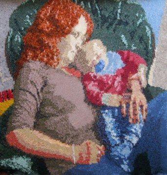 Napping with Ezra 73 x 73 cm
