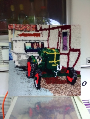 Tractor Pulling a Puck 48 x 48 cm £50