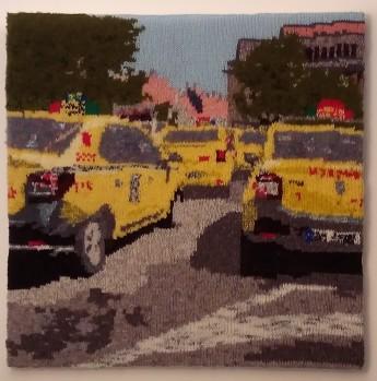 Yellow Taxis in Sibiu, Romania 60 x 60 cm £250